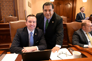 Senator Andy Manar (D-Bunker Hill) and Senator Martin Sandoval (D-Cicero) after debate of SB231in the Senate Chamber.